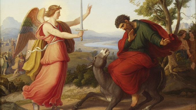 Balaam and the angel, painting from Gustav Jaeger, 1836.