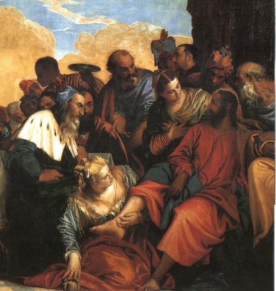 马利亚替耶稣洗脚 维洛内塞(P. Veroneses 1528-88)作 油彩·画布,315*451cm 杜林·沙巴达画廊